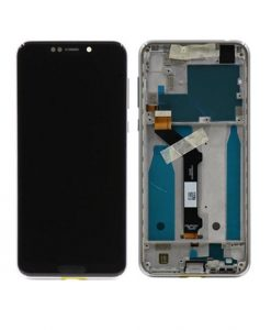 LCD Display and Touch Screen Digitizer Assembly with Frame For Moto One - White