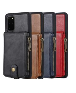 Cowhide Leather zipper case For Samsung Galaxy S20 S20+ S20Ultra