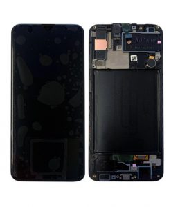 OEM Screen With Frame Replacement For Samsung Galaxy A30S (A307) - Black