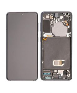 OEM Screen Replacement with Frame For Samsung Galaxy S21 - Black